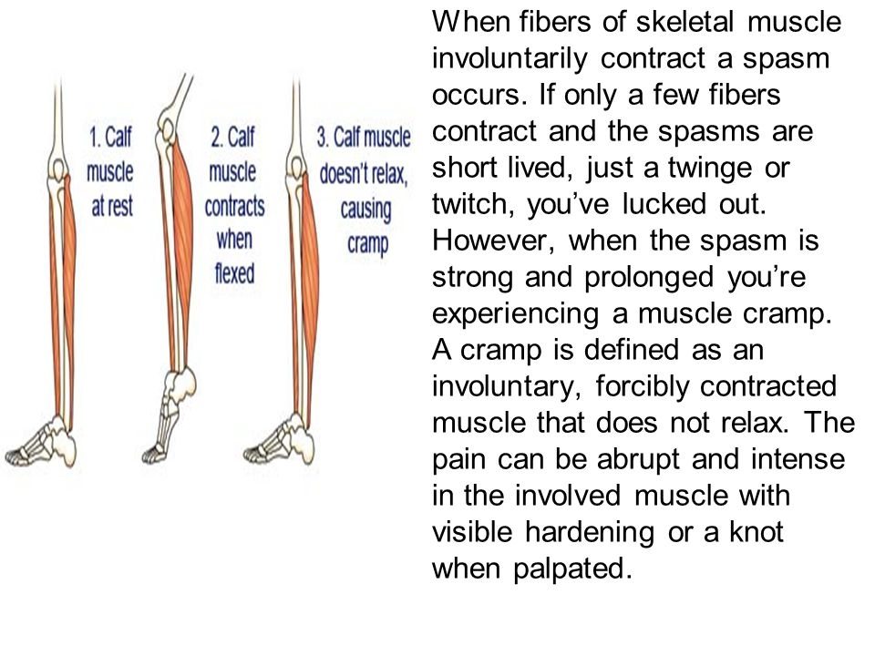 When fibers of skeletal muscle involuntarily contract a spasm occurs. If only a few fibers contract and the spasms are short lived, just a twinge or t