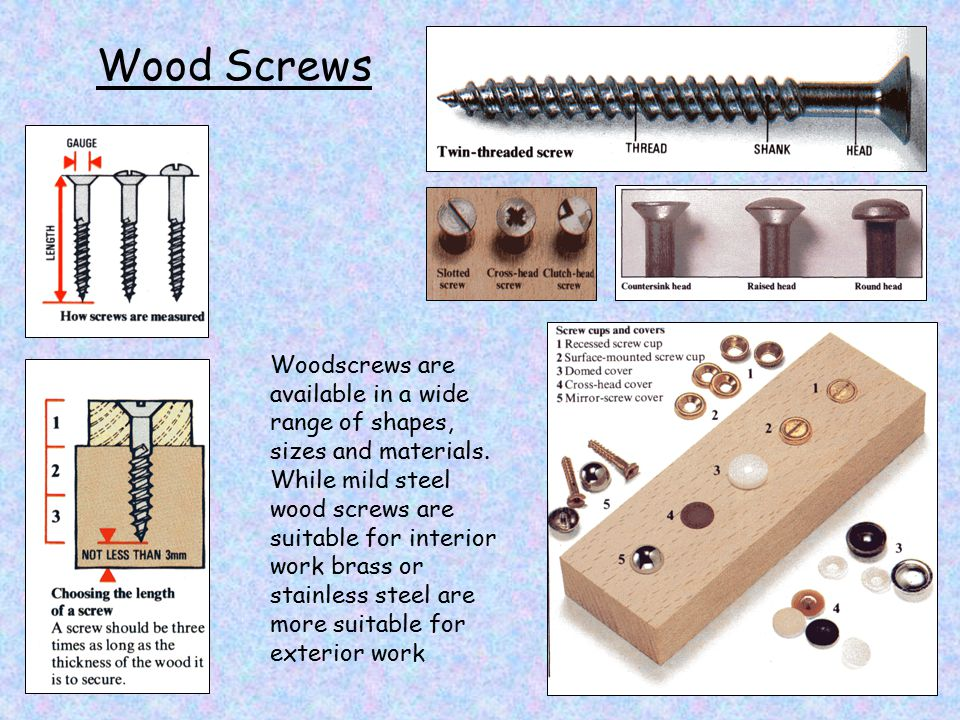 Wood Screws Woodscrews are available in a wide range of shapes, sizes and materials.