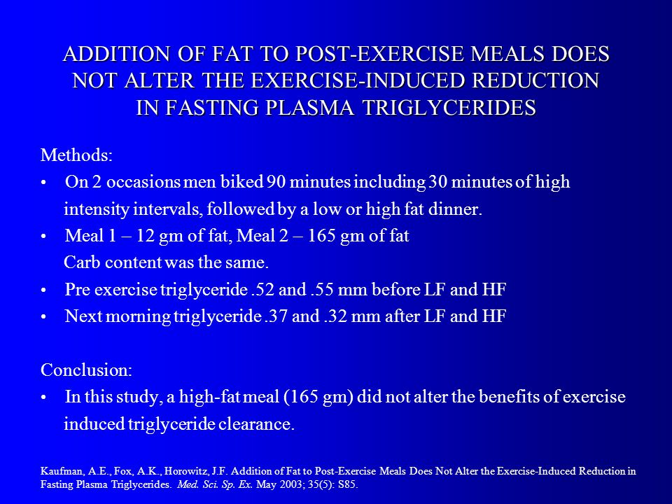 ADDITION OF FAT TO POST-EXERCISE MEALS DOES NOT ALTER THE EXERCISE-INDUCED REDUCTION IN FASTING PLASMA TRIGLYCERIDES Methods: On 2 occasions men biked 90 minutes including 30 minutes of high intensity intervals, followed by a low or high fat dinner.