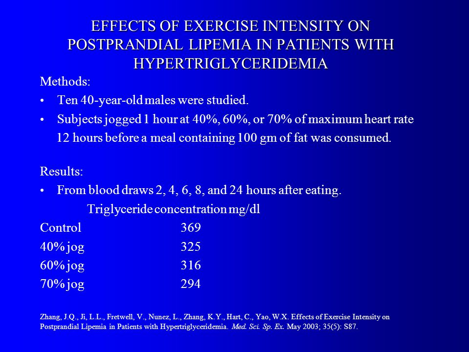 EFFECTS OF EXERCISE INTENSITY ON POSTPRANDIAL LIPEMIA IN PATIENTS WITH HYPERTRIGLYCERIDEMIA Methods: Ten 40-year-old males were studied.