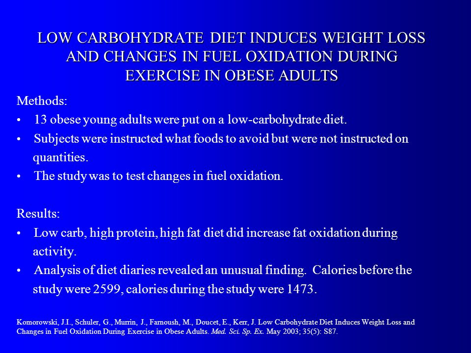 LOW CARBOHYDRATE DIET INDUCES WEIGHT LOSS AND CHANGES IN FUEL OXIDATION DURING EXERCISE IN OBESE ADULTS Methods: 13 obese young adults were put on a low-carbohydrate diet.