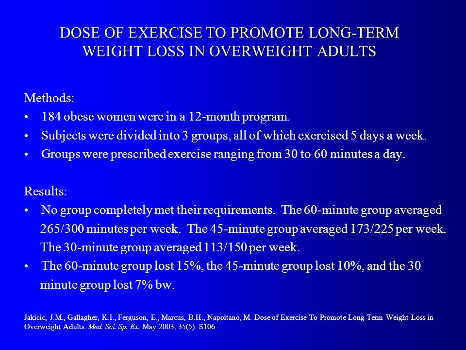 DOSE OF EXERCISE TO PROMOTE LONG-TERM WEIGHT LOSS IN OVERWEIGHT ADULTS Methods: 184 obese women were in a 12-month program.