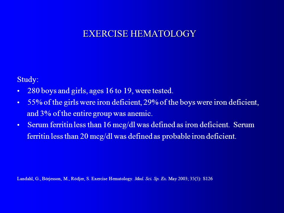 EXERCISE HEMATOLOGY Study: 280 boys and girls, ages 16 to 19, were tested.
