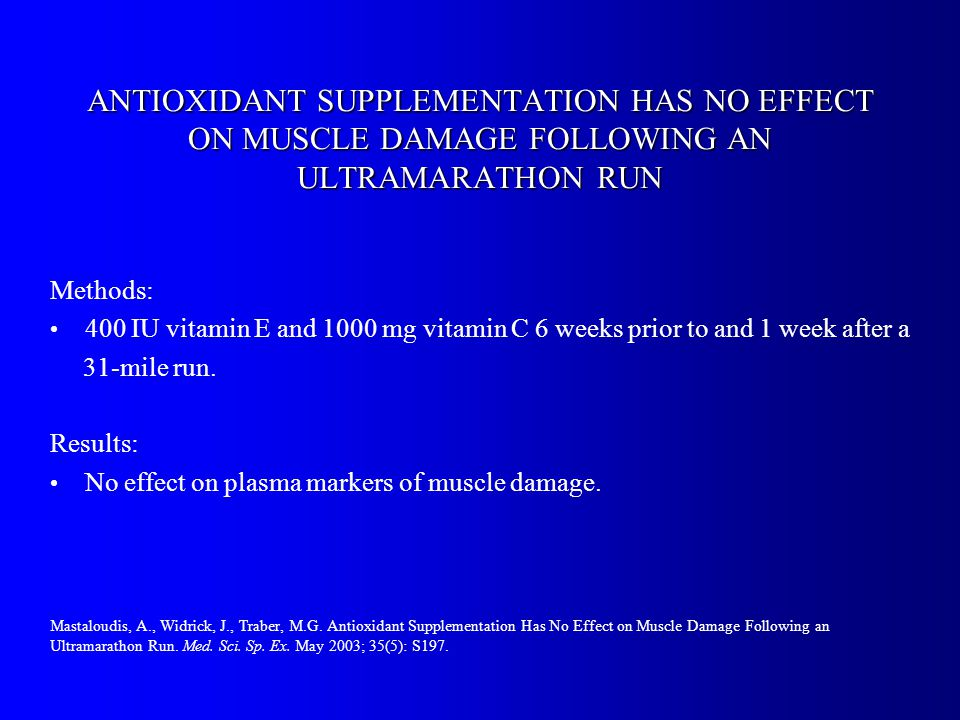 ANTIOXIDANT SUPPLEMENTATION HAS NO EFFECT ON MUSCLE DAMAGE FOLLOWING AN ULTRAMARATHON RUN Methods: 400 IU vitamin E and 1000 mg vitamin C 6 weeks prior to and 1 week after a 31-mile run.