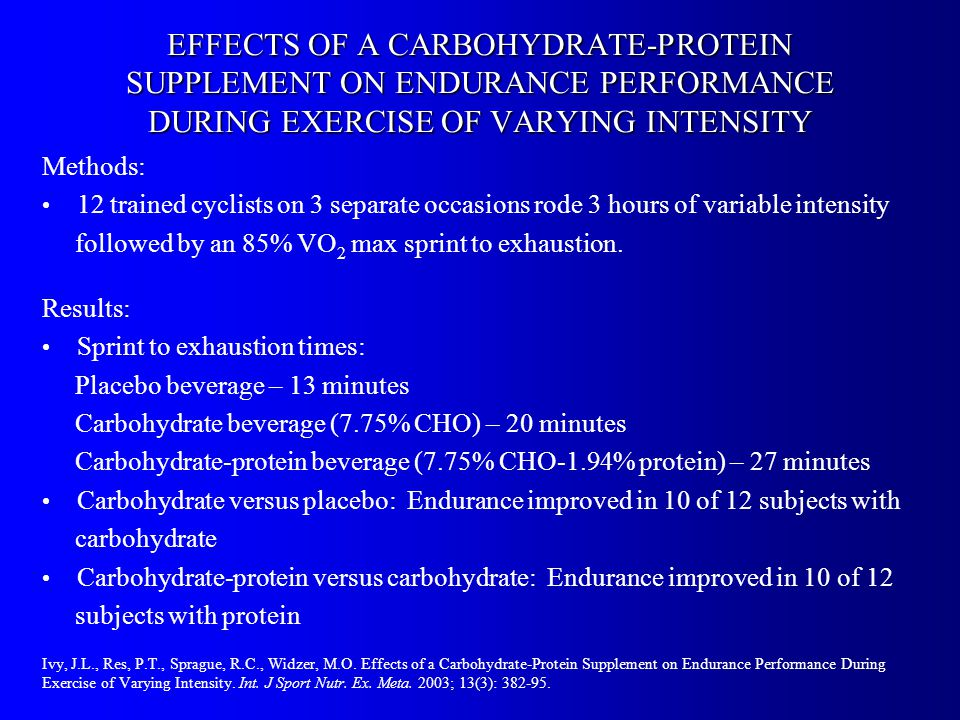 EFFECTS OF A CARBOHYDRATE-PROTEIN SUPPLEMENT ON ENDURANCE PERFORMANCE DURING EXERCISE OF VARYING INTENSITY Methods: 12 trained cyclists on 3 separate occasions rode 3 hours of variable intensity followed by an 85% VO 2 max sprint to exhaustion.