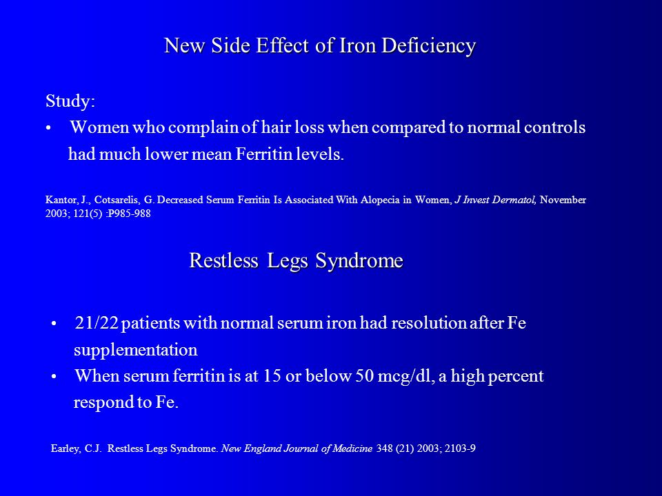 New Side Effect of Iron Deficiency Study: Women who complain of hair loss when compared to normal controls had much lower mean Ferritin levels.