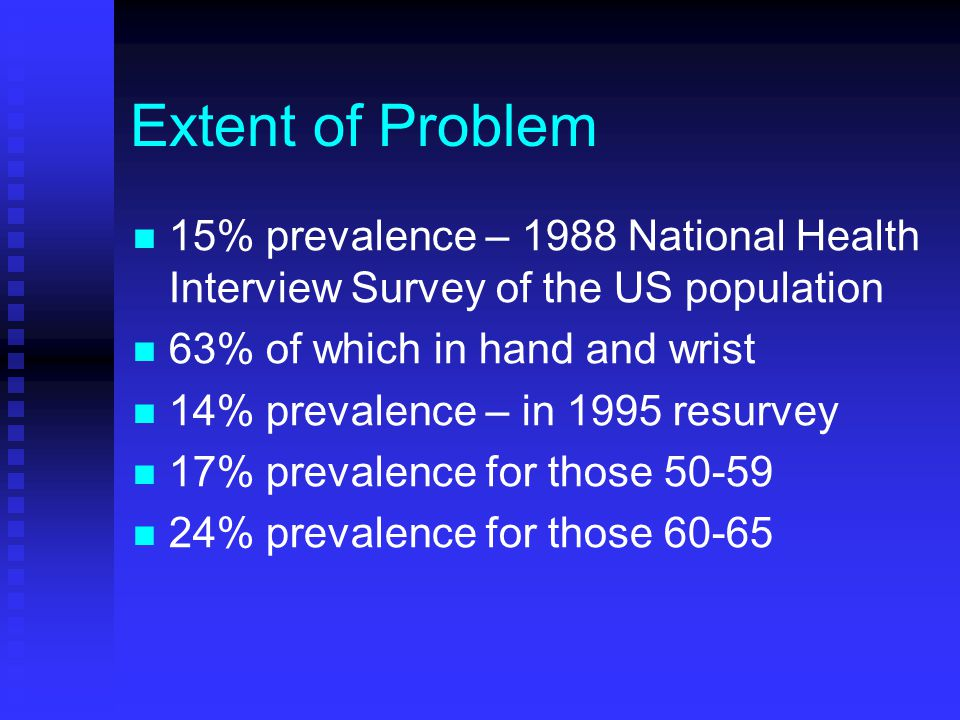 Extent of Problem 15% prevalence – 1988 National Health Interview Survey of the US population 63% of which in hand and wrist 14% prevalence – in 1995 resurvey 17% prevalence for those 50-59 24% prevalence for those 60-65