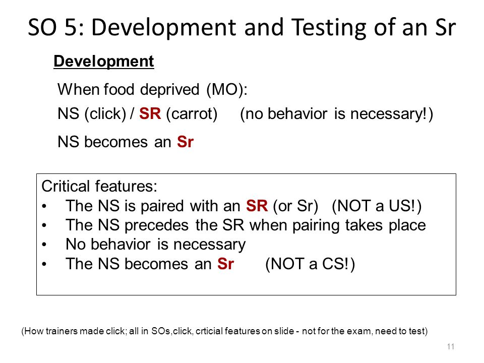 SO 5: Development and Testing of an Sr 11 When food deprived (MO): Development NS (click)/ SR (carrot) (no behavior is necessary!) NS becomes an Sr Critical features: The NS is paired with an SR (or Sr) (NOT a US!) The NS precedes the SR when pairing takes place No behavior is necessary The NS becomes an Sr (NOT a CS!) (How trainers made click; all in SOs,click, crticial features on slide - not for the exam, need to test)