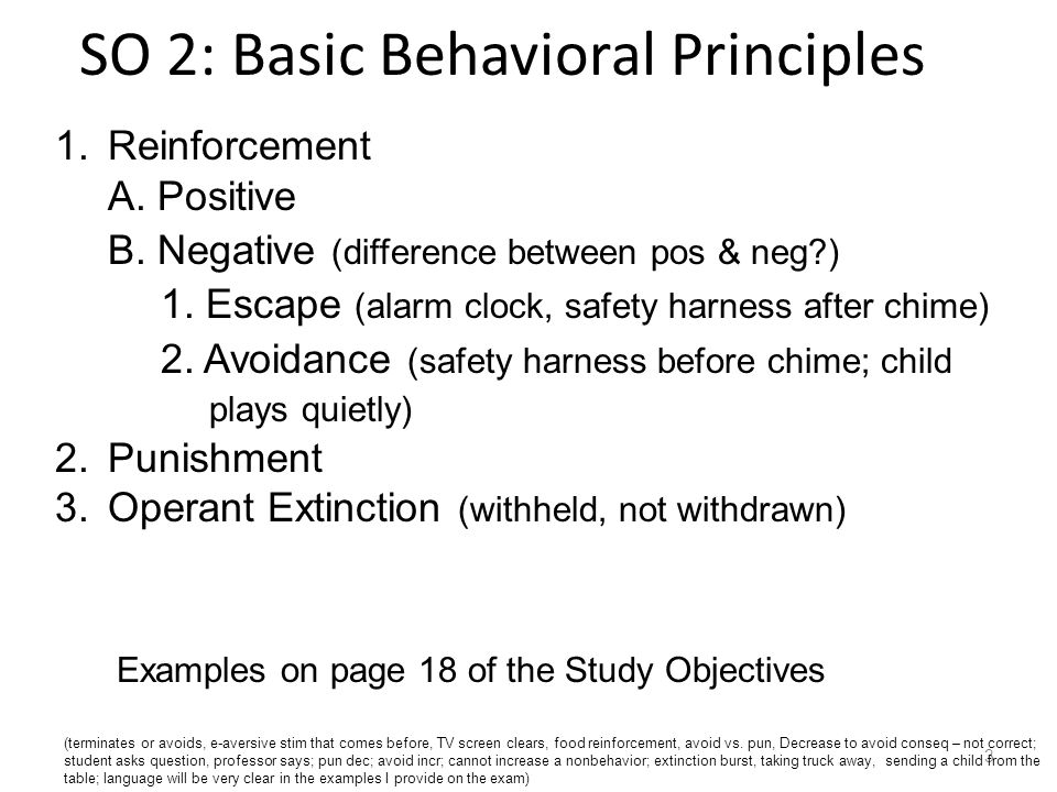 SO 2: Basic Behavioral Principles 3 1.Reinforcement A.