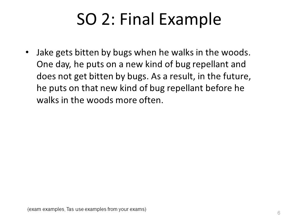 SO 2: Final Example Jake gets bitten by bugs when he walks in the woods.