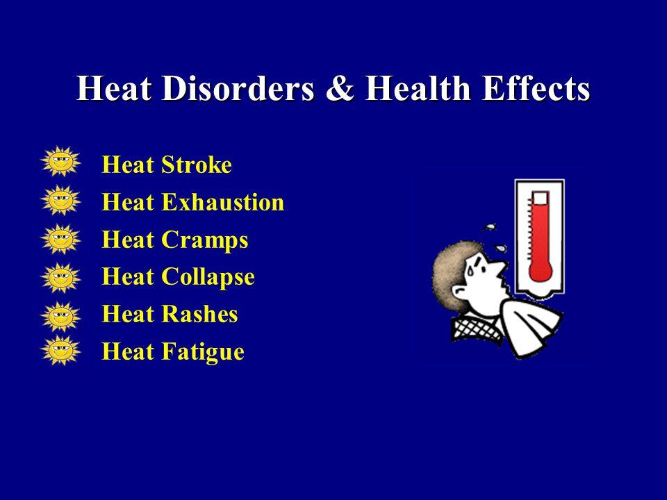 Heat Disorders & Health Effects Heat Stroke Heat Exhaustion Heat Cramps Heat Collapse Heat Rashes Heat Fatigue