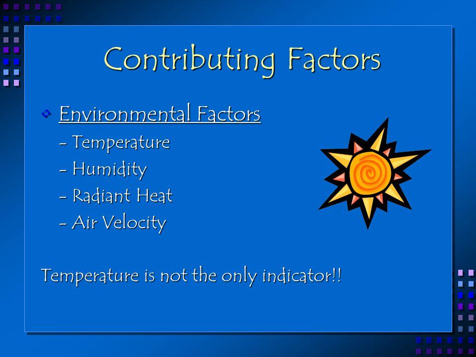Contributing Factors Environmental FactorsEnvironmental Factors - Temperature - Temperature - Humidity - Humidity - Radiant Heat - Radiant Heat - Air