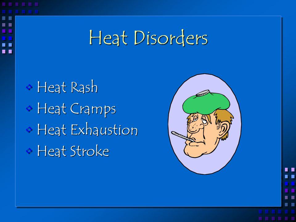 Heat Disorders Heat RashHeat Rash Heat CrampsHeat Cramps Heat ExhaustionHeat Exhaustion Heat StrokeHeat Stroke