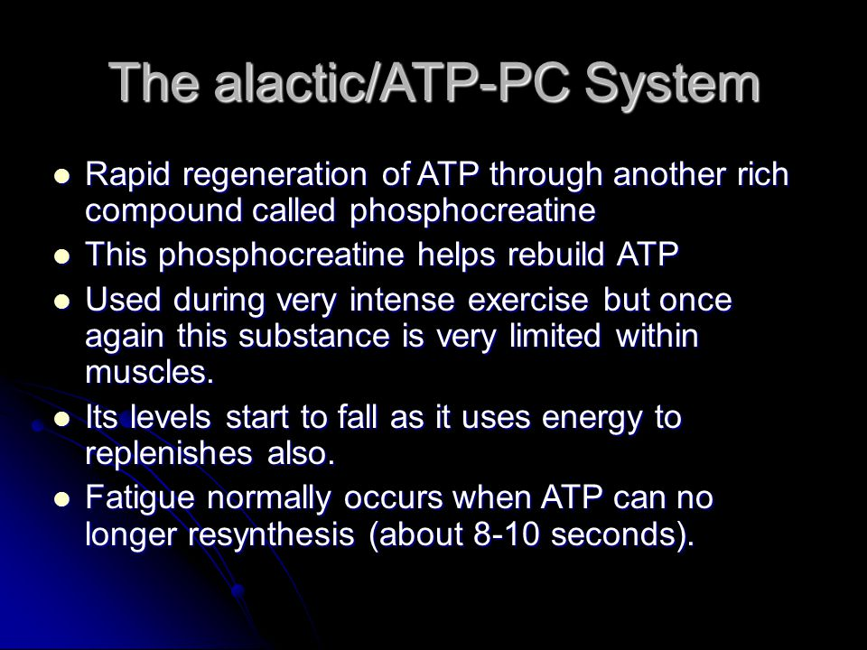 The alactic/ATP-PC System Rapid regeneration of ATP through another rich compound called phosphocreatine Rapid regeneration of ATP through another ric