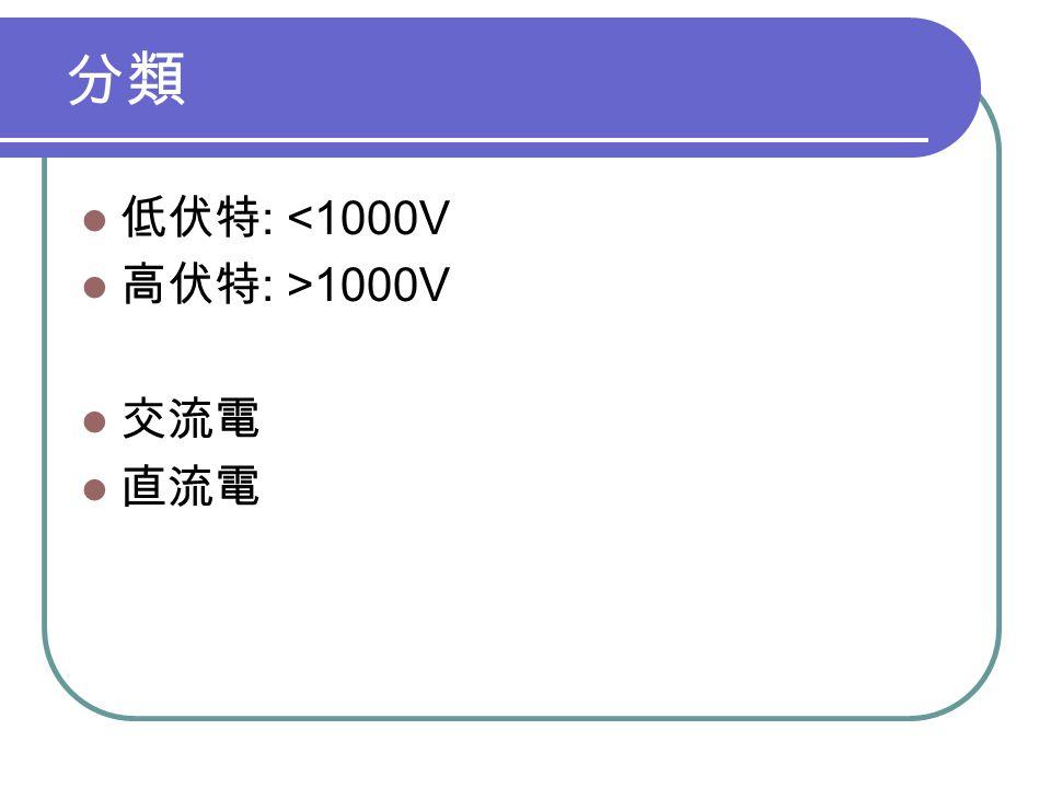 分類 低伏特 : <1000V 高伏特 : >1000V 交流電 直流電