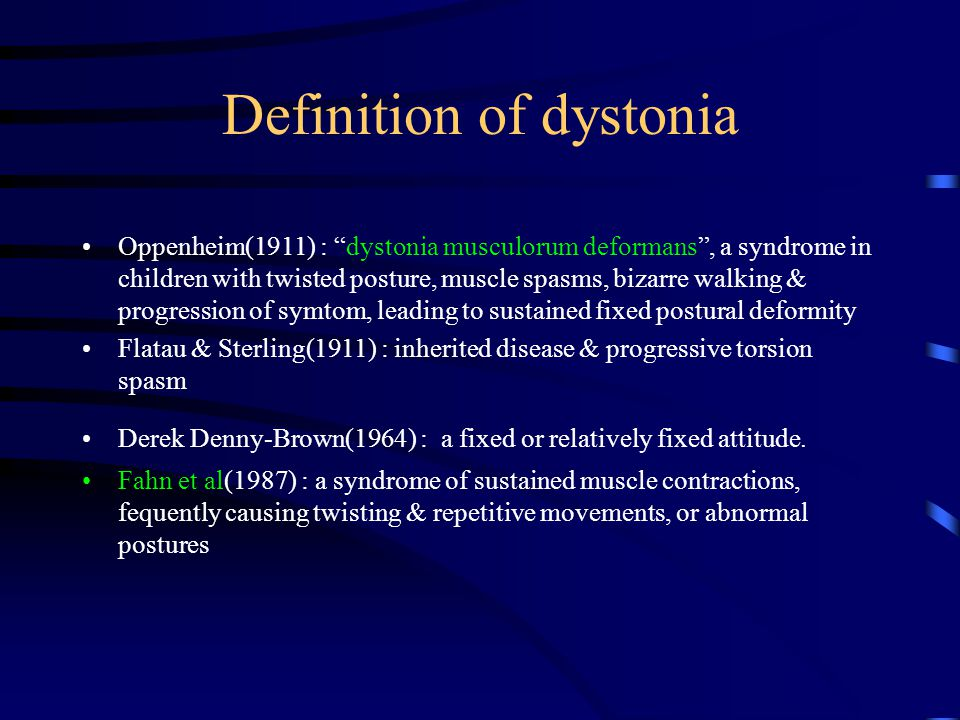 Features of dystonic movements(I) Speed : from slow to rapid, more often the latter * myoclonic dystonia : so fast, prolonged EMG burst on EMG * myoclonus : short duration burst on EMG Aggravated by voluntary movement, stress, emotional upset, fatigue * Action dystonia : dystonic movement with voluntary movement * Task specific dystonia : writer's cramp, musician's cramp, chewing, speaking * paradoxical dystonia : for dystonia at rest to be improved by active movement; mistake as akathisia Relieved by relaxation, hypnosis & sleep * diminished by tactile or proprioceptive sensory trick - a hand on the chin or side of face in torticollis - touching the lips or placing an object in the mouth in oro-lingual dystonia