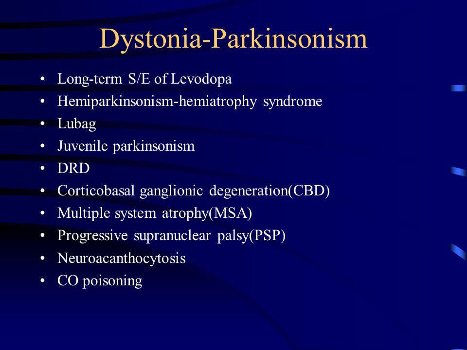 Treatment of dystonia(III) Peripheral deafferentiation : somatosensory input in the pathogenesis of dystonia * 5-10 ml of 0.5 % lidocaine Kinesigenic paroxysmal dystonia : AED(carbamazepine, phenytoin) non-kinesigenic paroxysmal dystonia : clonazepam, acetazolamide