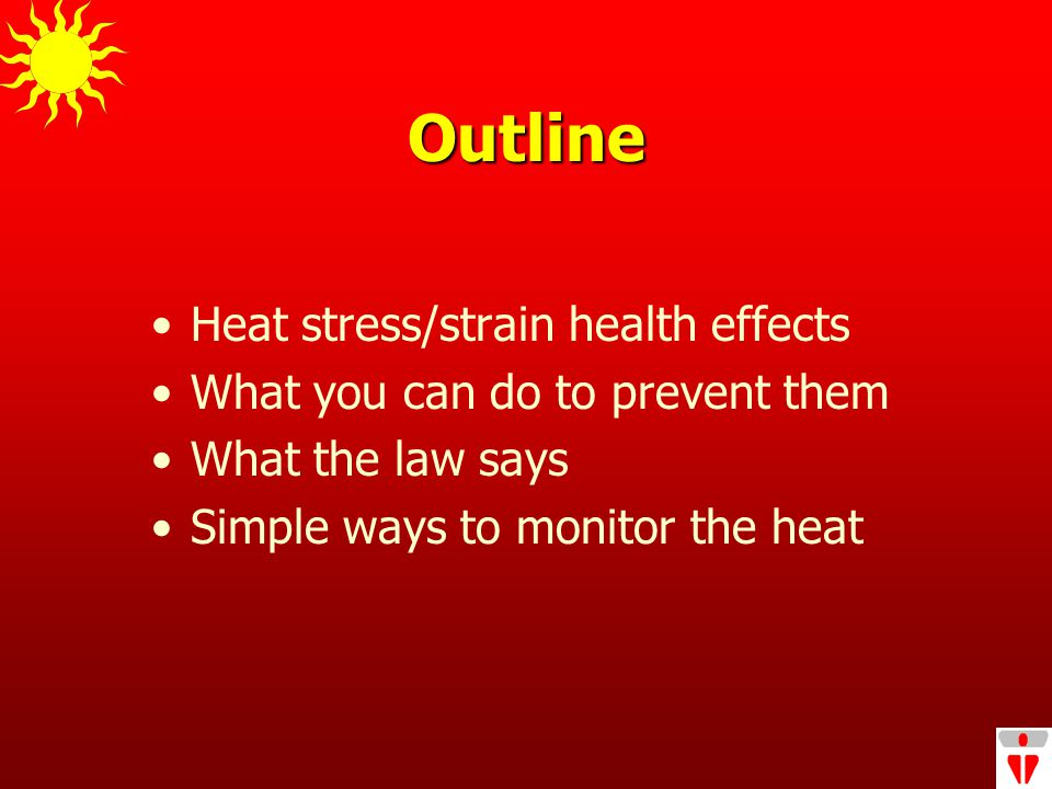Outline Heat stress/strain health effects What you can do to prevent them What the law says Simple ways to monitor the heat