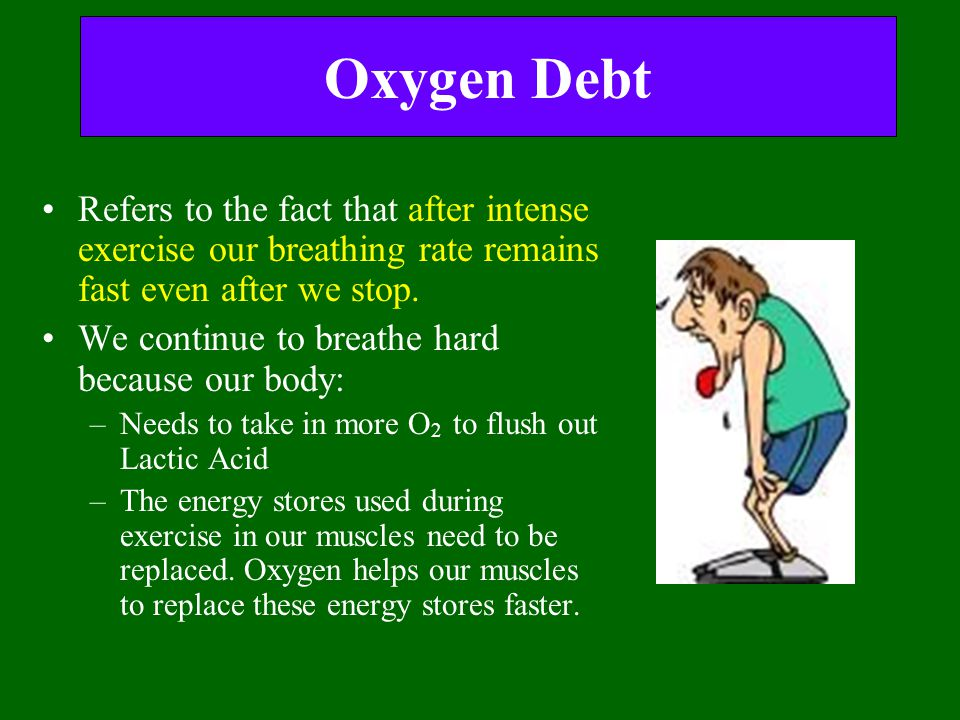 Oxygen Debt Refers to the fact that after intense exercise our breathing rate remains fast even after we stop.