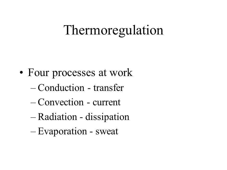 Thermoregulation Four processes at work –Conduction - transfer –Convection - current –Radiation - dissipation –Evaporation - sweat