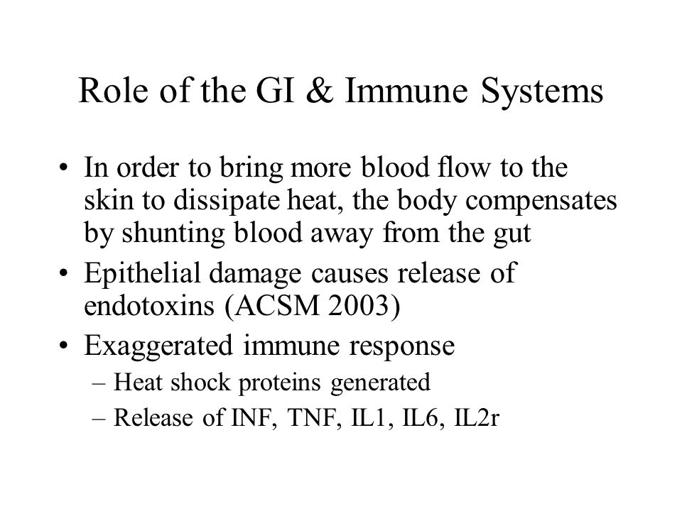 Role of the GI & Immune Systems In order to bring more blood flow to the skin to dissipate heat, the body compensates by shunting blood away from the
