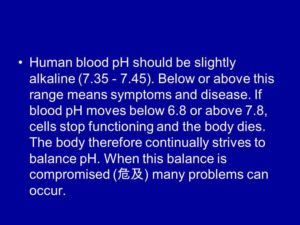 Human blood pH should be slightly alkaline (7.35 - 7.45).