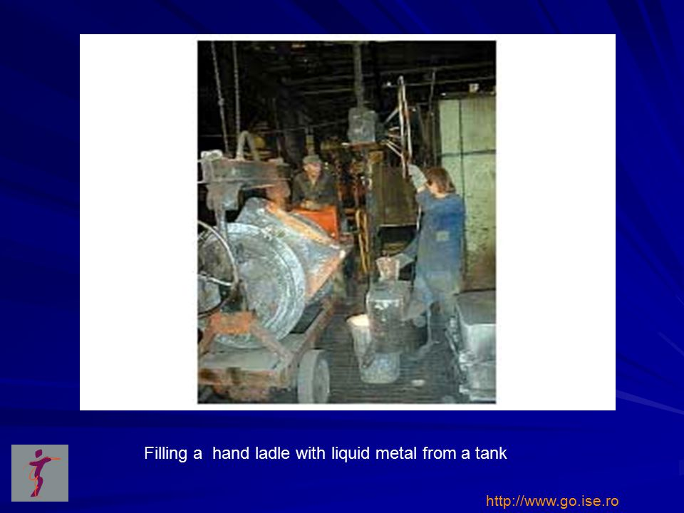 Filling a hand ladle with liquid metal from a tank http://www.go.ise.ro