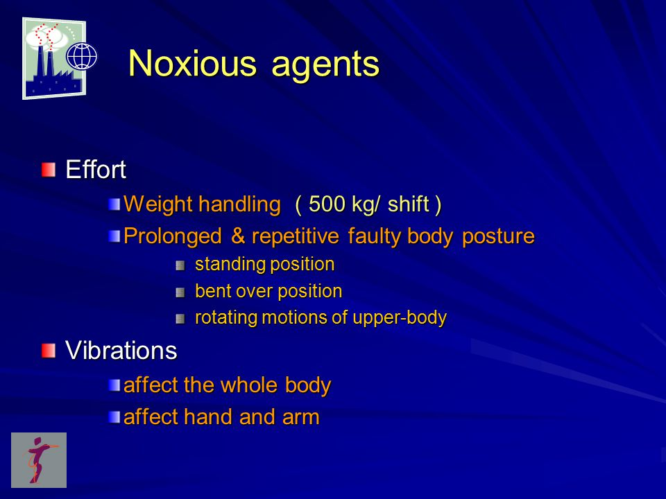 Noxious agents Noxious agents Effort Weight handling ( 500 kg/ shift ) Prolonged & repetitive faulty body posture standing position standing position bent over position bent over position rotating motions of upper-body rotating motions of upper-bodyVibrations affect the whole body affect hand and arm