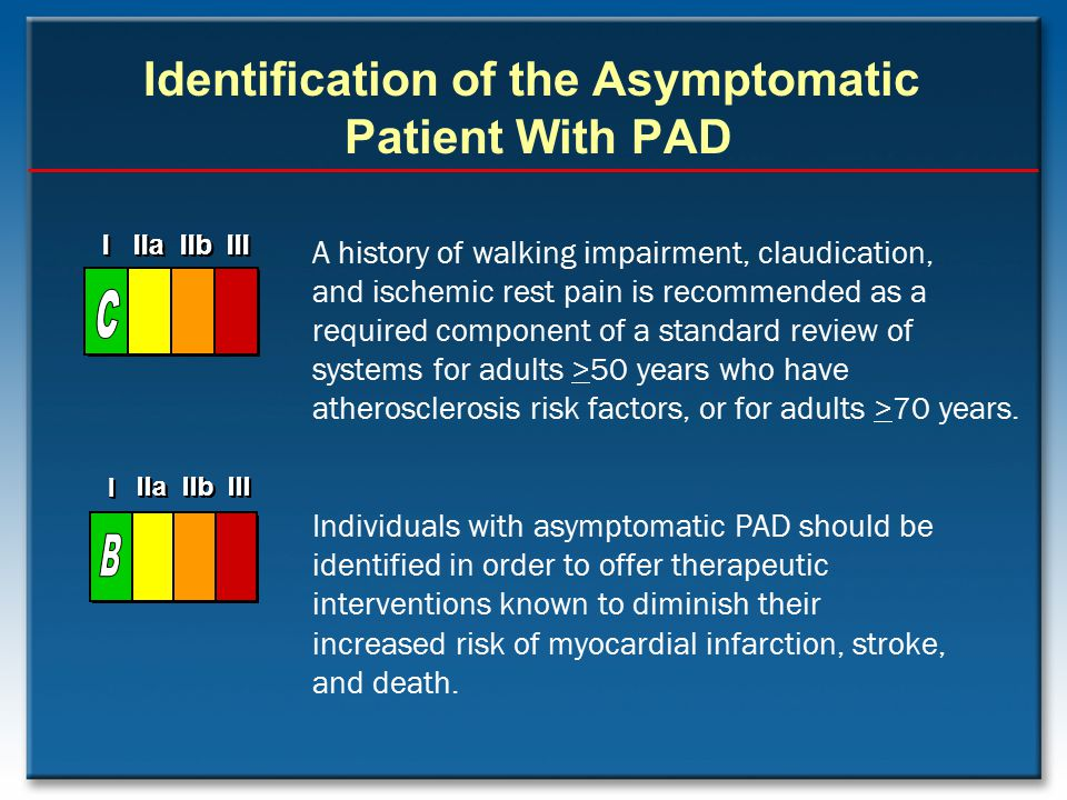 Identification of the Asymptomatic Patient With PAD A history of walking impairment, claudication, and ischemic rest pain is recommended as a required