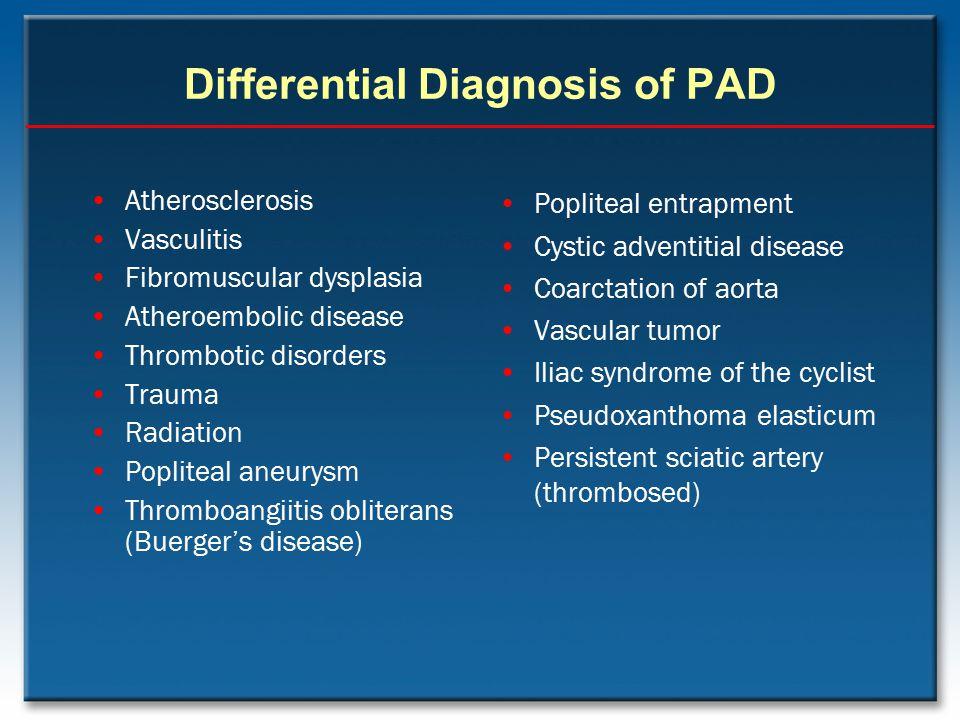 Differential Diagnosis of PAD Atherosclerosis Vasculitis Fibromuscular dysplasia Atheroembolic disease Thrombotic disorders Trauma Radiation Popliteal