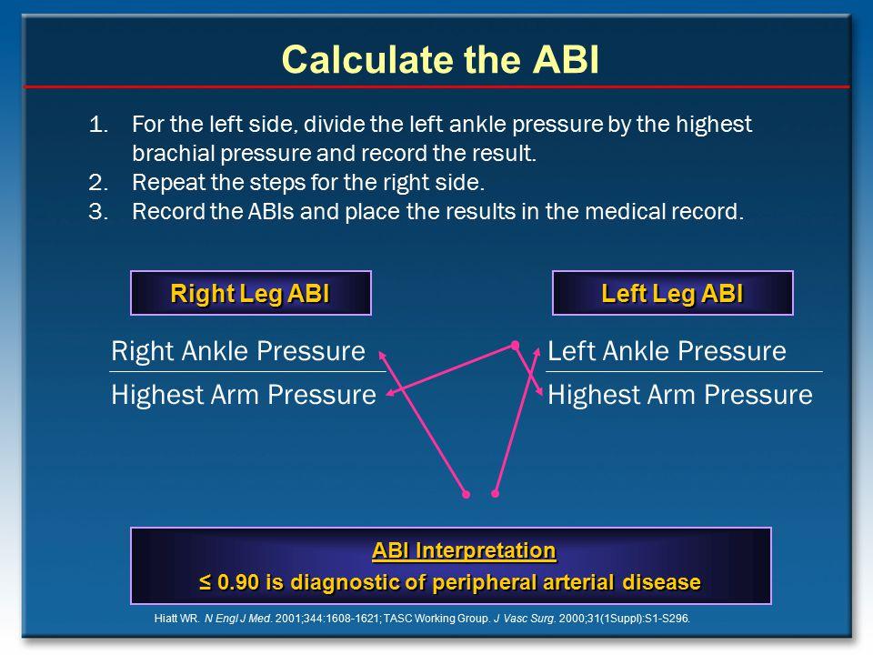 Calculate the ABI Hiatt WR. N Engl J Med. 2001;344:1608-1621; TASC Working Group. J Vasc Surg. 2000;31(1Suppl):S1-S296. ABI Interpretation ≤ 0.90 is d