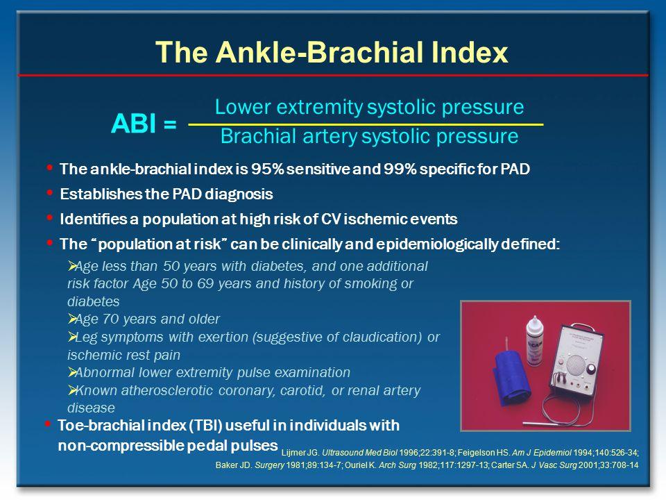 Lower extremity systolic pressure Brachial artery systolic pressure ABI = The Ankle-Brachial Index Lijmer JG. Ultrasound Med Biol 1996;22:391-8; Feige