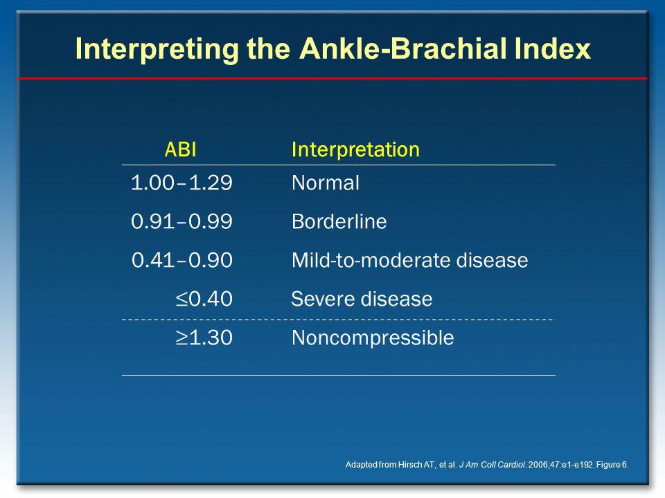 Interpreting the Ankle-Brachial Index Adapted from Hirsch AT, et al. J Am Coll Cardiol. 2006;47:e1-e192. Figure 6. ABIInterpretation 1.00–1.29Normal 0
