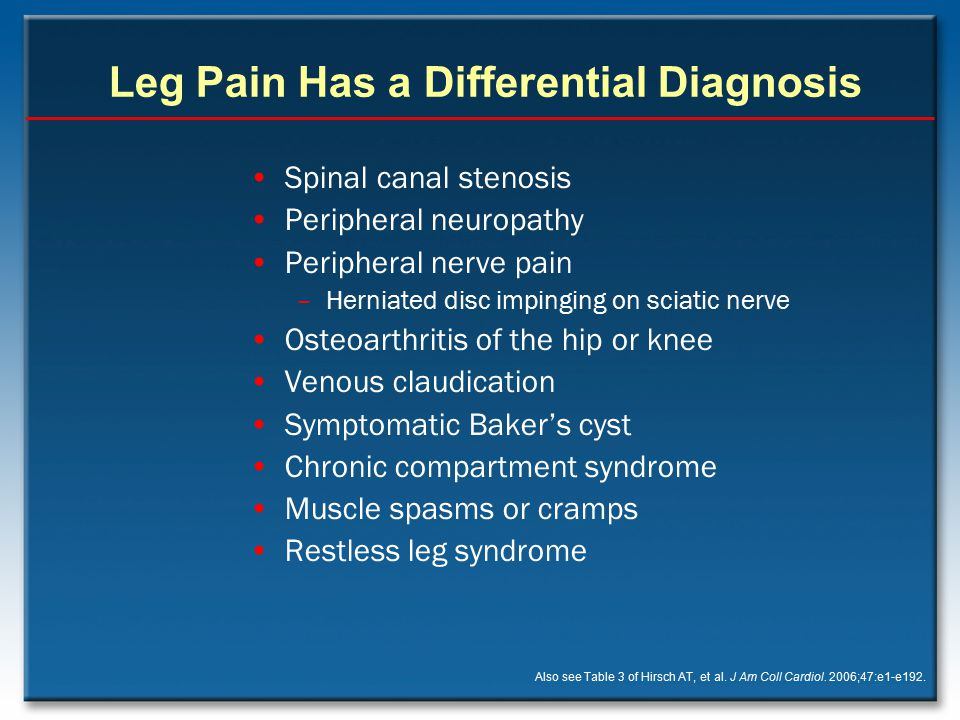 Leg Pain Has a Differential Diagnosis Spinal canal stenosis Peripheral neuropathy Peripheral nerve pain –Herniated disc impinging on sciatic nerve Ost