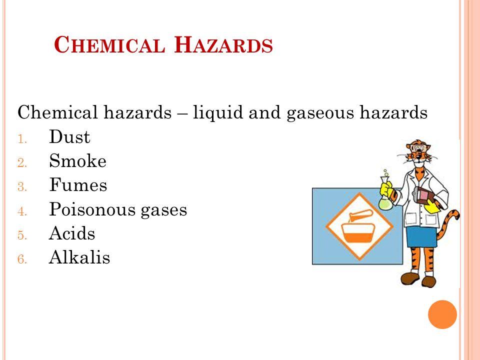 C HEMICAL H AZARDS Chemical hazards – liquid and gaseous hazards 1.