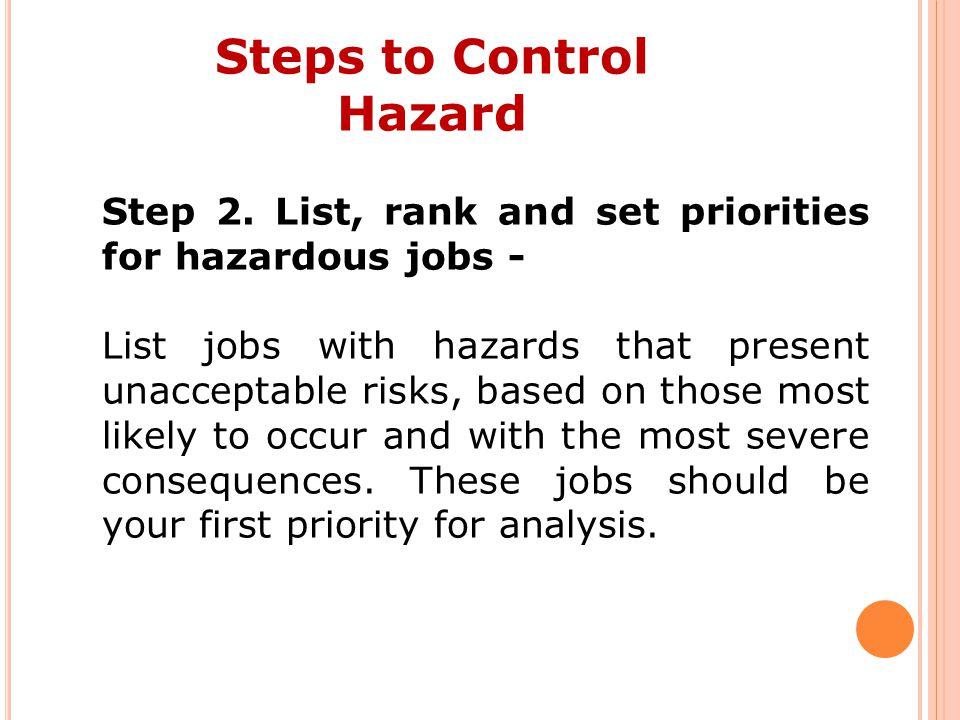 Steps to Control Hazard Step 2.