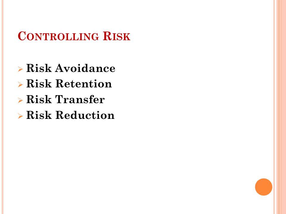 C ONTROLLING R ISK  Risk Avoidance  Risk Retention  Risk Transfer  Risk Reduction