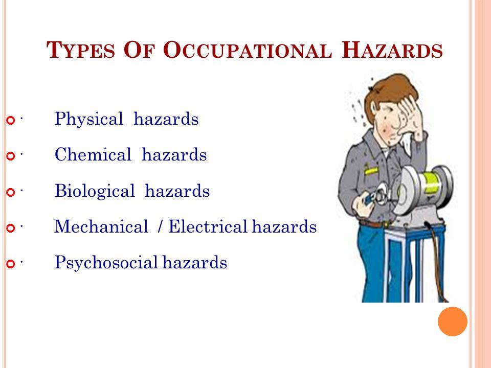 T YPES O F O CCUPATIONAL H AZARDS ·Physical hazards ·Chemical hazards ·Biological hazards ·Mechanical / Electrical hazards ·Psychosocial hazards