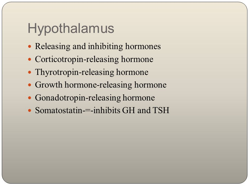 Hypothalamus Releasing and inhibiting hormones Corticotropin-releasing hormone Thyrotropin-releasing hormone Growth hormone-releasing hormone Gonadotr