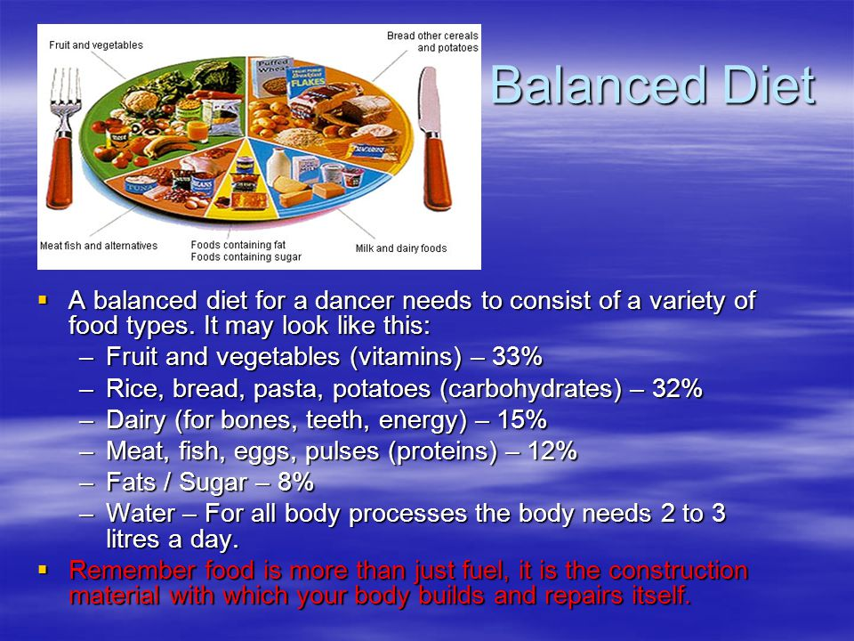 Balanced Diet  A balanced diet for a dancer needs to consist of a variety of food types. It may look like this: –Fruit and vegetables (vitamins) – 33