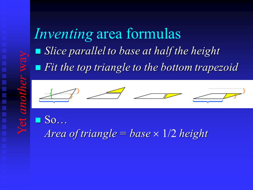 Inventing area formulas Slice parallel to base at half the height Slice parallel to base at half the height Fit the top triangle to the bottom trapezoid Fit the top triangle to the bottom trapezoid So… Area of triangle = base height So… Area of triangle = base  1/2 height Yet another way