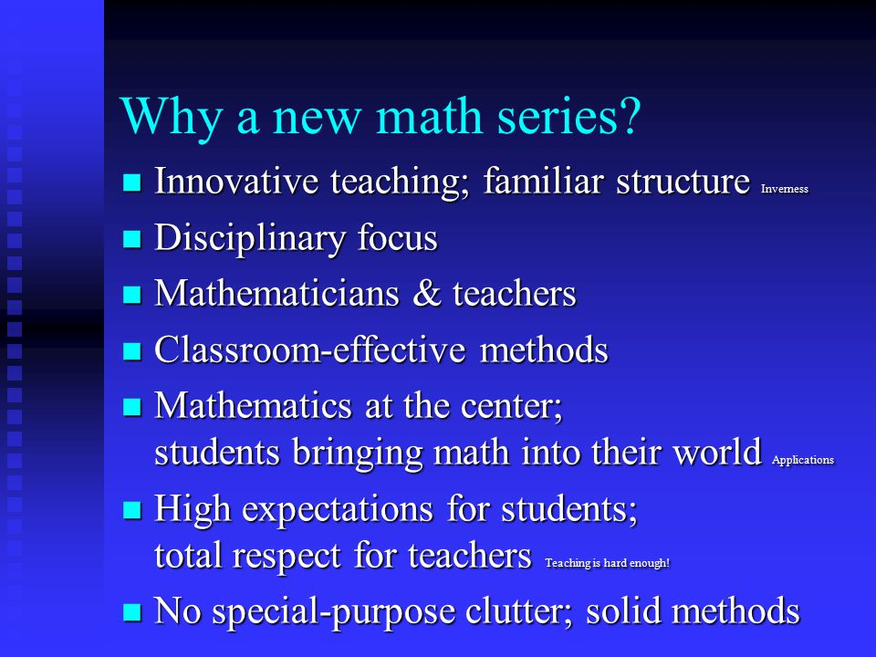 Why a new math series.
