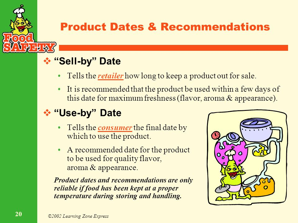 """©2002 Learning Zone Express 20 Product Dates & Recommendations  """"Sell-by"""" Date Tells the retailer how long to keep a product out for sale. It is reco"""