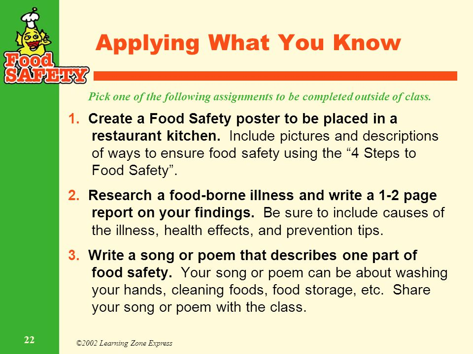 ©2002 Learning Zone Express 22 Applying What You Know 1. Create a Food Safety poster to be placed in a restaurant kitchen. Include pictures and descri