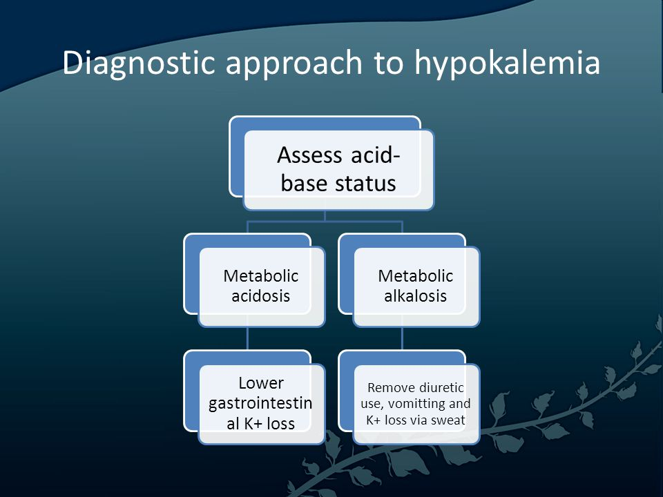 Diagnostic approach to hypokalemia Assess acid- base status Metabolic acidosis Lower gastrointestin al K+ loss Metabolic alkalosis Remove diuretic use, vomitting and K+ loss via sweat