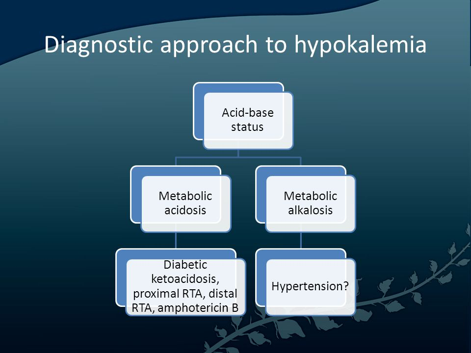 Diagnostic approach to hypokalemia Acid-base status Metabolic acidosis Diabetic ketoacidosis, proximal RTA, distal RTA, amphotericin B Metabolic alkalosis Hypertension