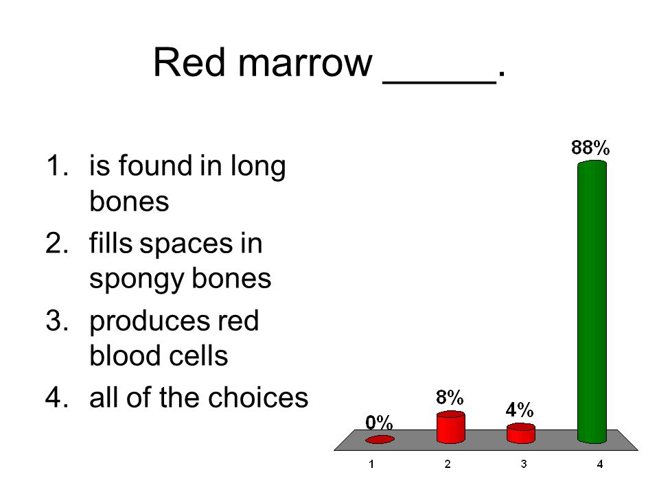Red marrow _____. 1.is found in long bones 2.fills spaces in spongy bones 3.produces red blood cells 4.all of the choices