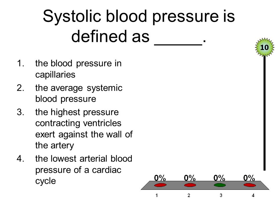 Systolic blood pressure is defined as _____. 1.the blood pressure in capillaries 2.the average systemic blood pressure 3.the highest pressure contract