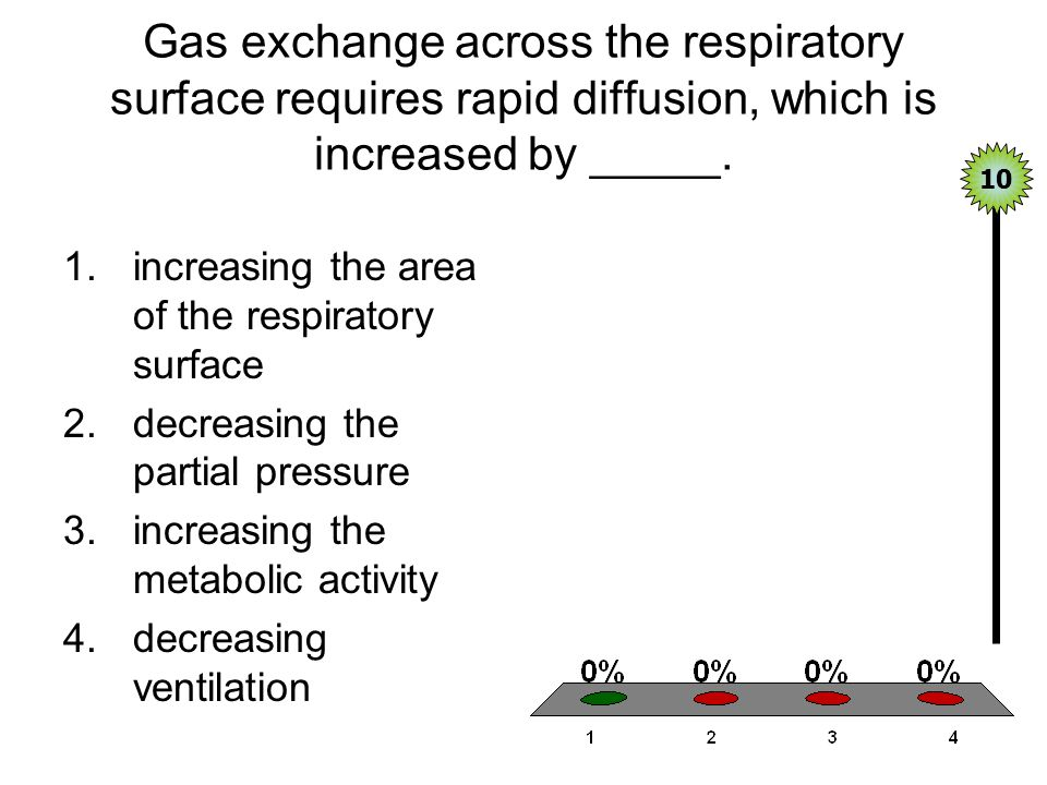 Gas exchange across the respiratory surface requires rapid diffusion, which is increased by _____. 1.increasing the area of the respiratory surface 2.