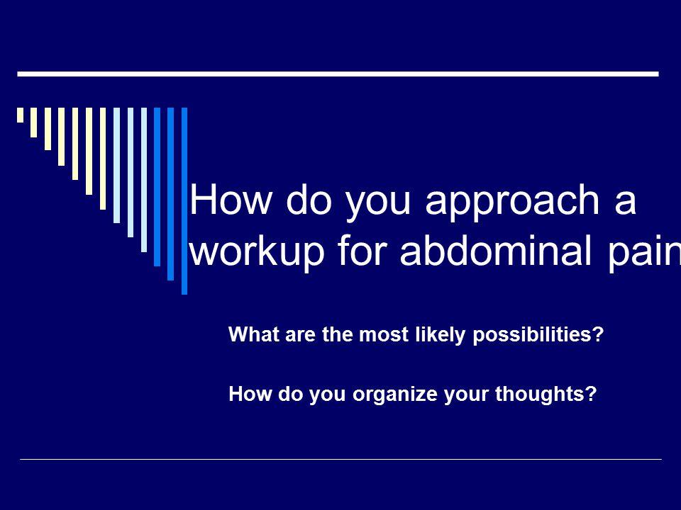 Upper abdominal pain: Dyspepsia  GERD = heartburn (retrosternal burning), water brash (acid taste in mouth), regurgitation, and sensation of dysphagia
